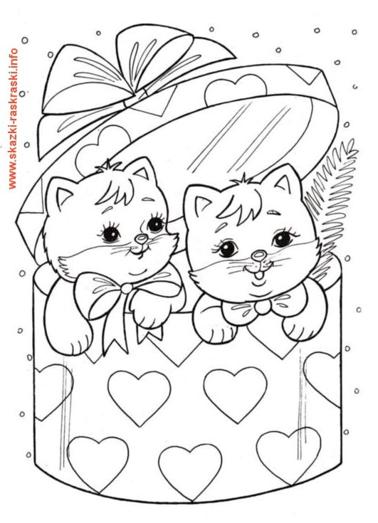 Raskraska Kotyata V Korobke Coloring Pages Christmas Coloring Pages Cat Coloring Page