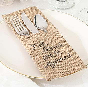 Your Guests Will Love These Cute Silverware Holders In Burlap At
