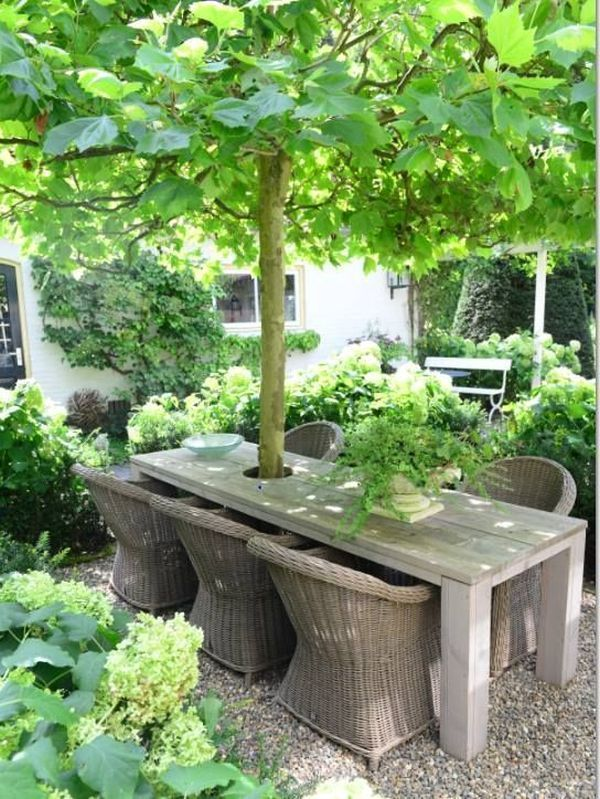42 Amazing ideas with natural pergolas in the garden, and how to organize the space around the trees #backyardlandscapedesign