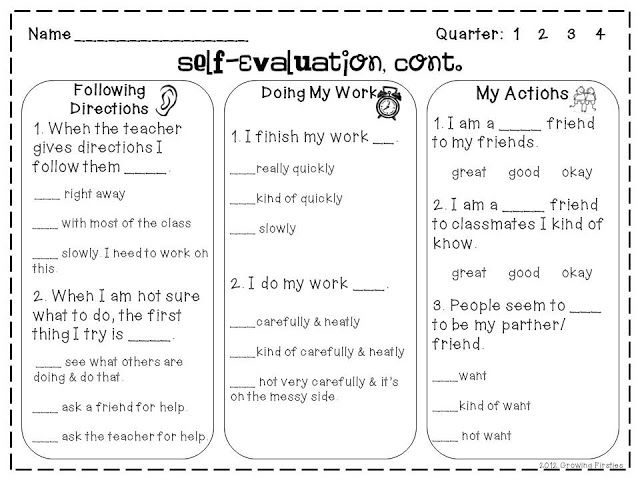 Self-Evaluation Freebie Growing Firsties C4 NBCT Pinterest