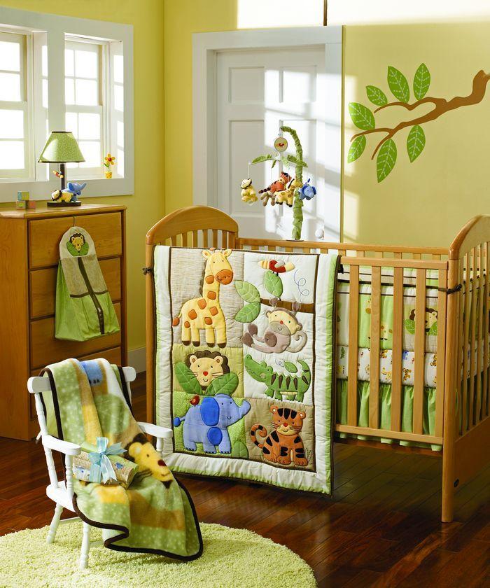 Giraffe Elephants Monkeys Jungle Animals Boy Baby Crib Bedding