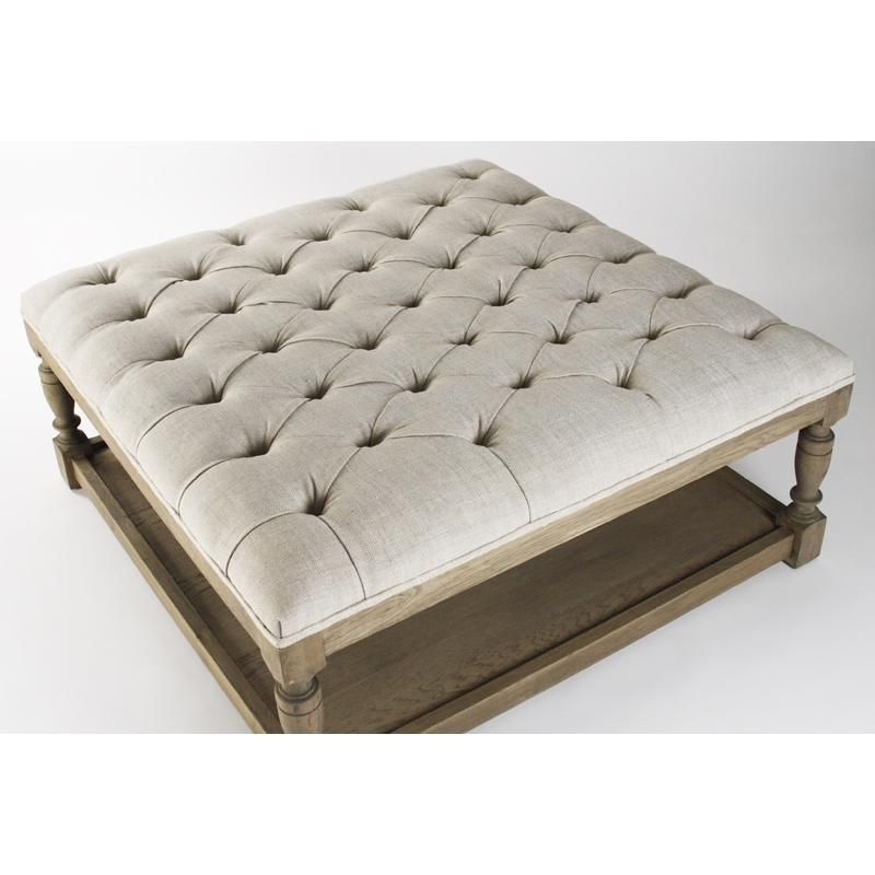Captivating Zentique Square Tufted Ottoman Design Ideas With Minimalist Coffee  Table White Leather Top And Wooden Table Leg Of Astounding Round Tufted ...