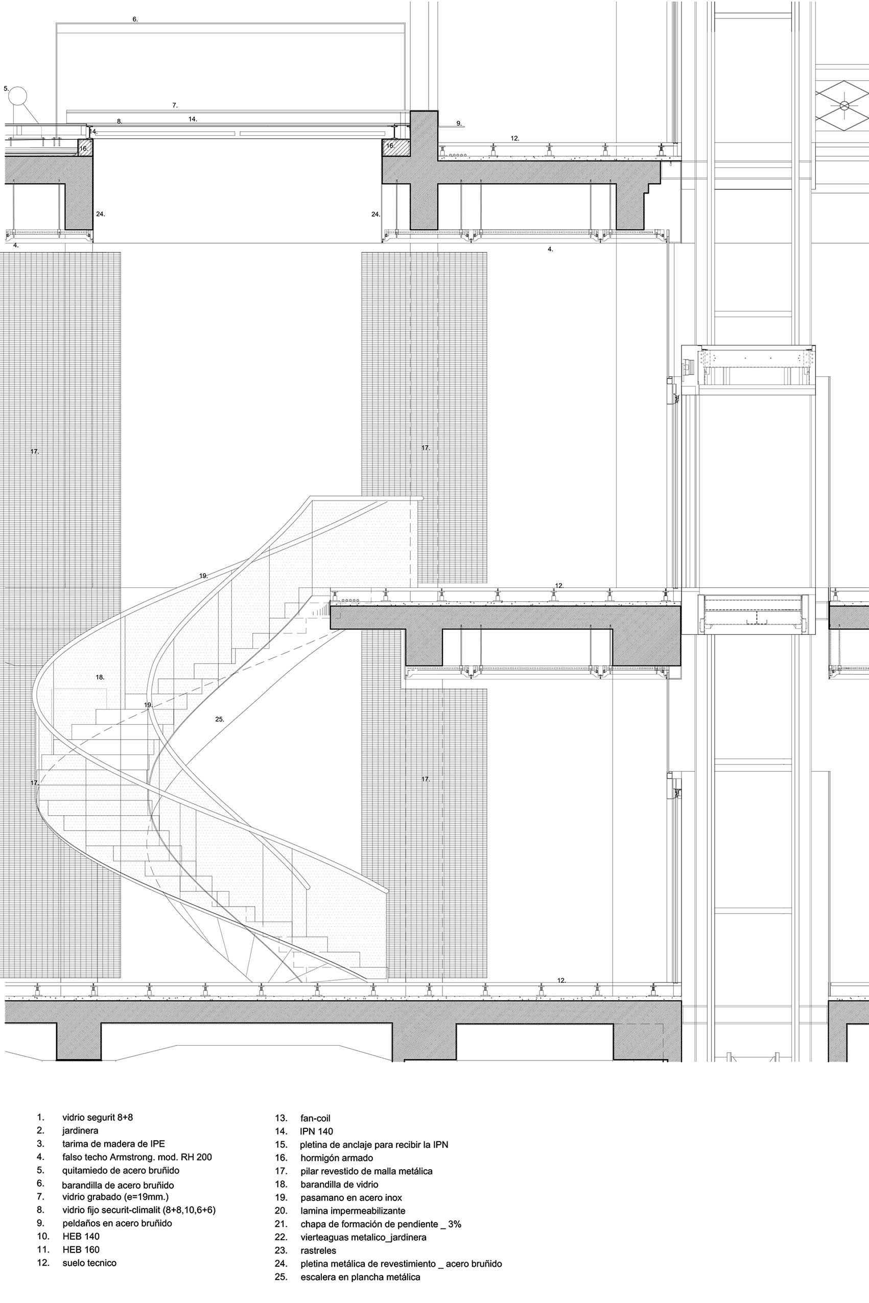 Resultat d 39 imatges de pletina barandilla cristal for Detalle escalera volada