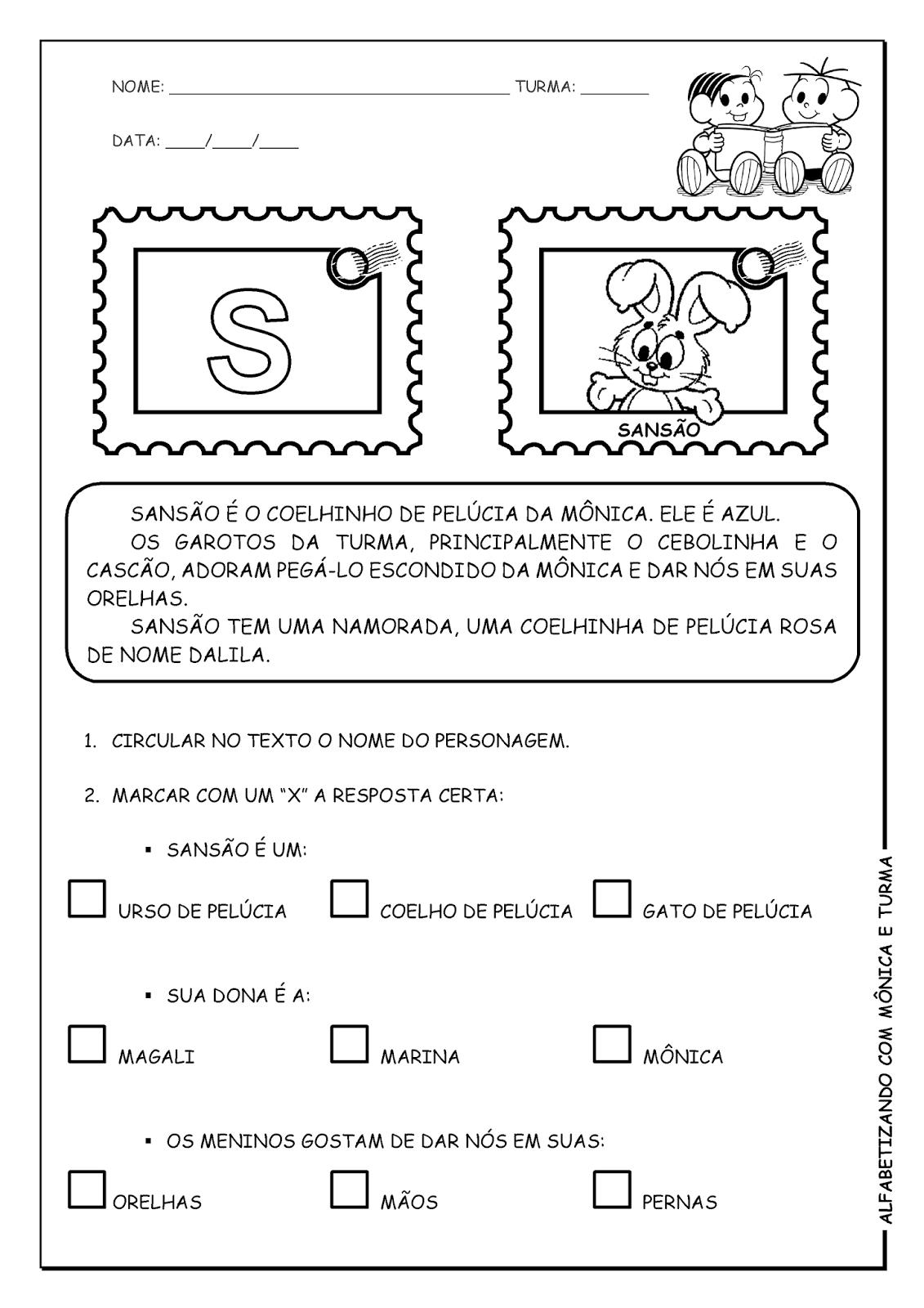 Alfabetizando com Mônica e Turma: Atividades de interpretação com personagens - S, T, U