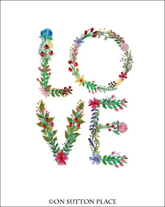 LOVE Floral Letter Printable   from On Sutton Place   Use for framed ...