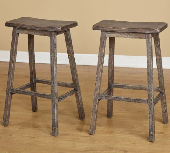 Wood Saddle Seat Bar Stool 29 Inch Rubberwood Distressed Grey