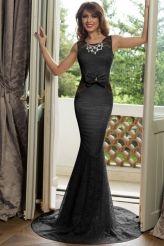 Black Floral Lace Front Bow Accent Maxi Evening Dress