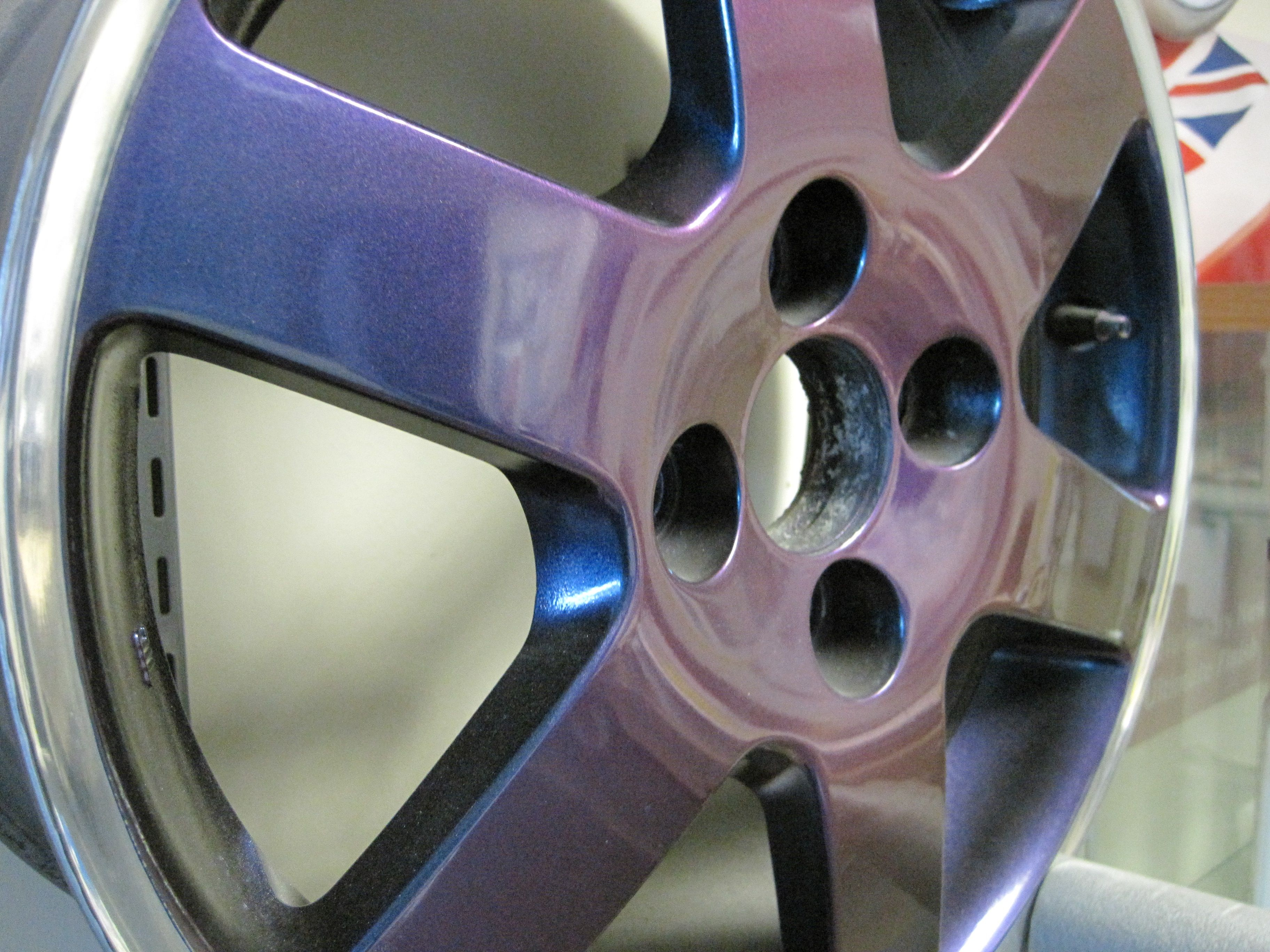 This 6 Spoke Alloy Wheel Was Painted In Flip Paint Changes Colour