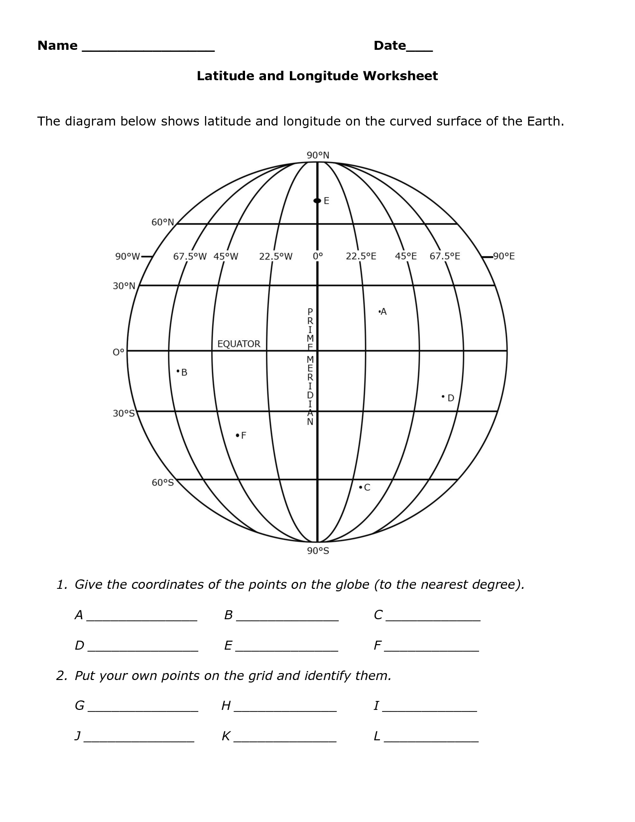 Lines Of Latitude And Longitude Worksheets