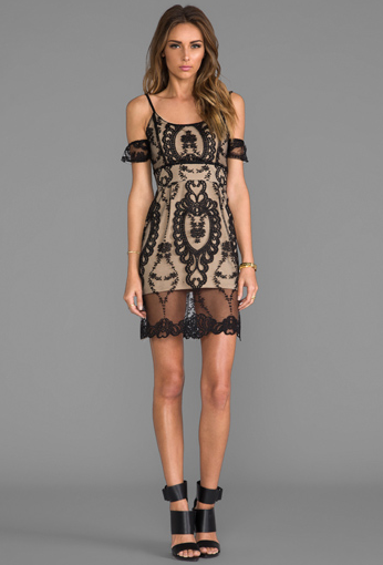 """Impress your hot date with the """"Vienna Off The Shoulder Lace Dress"""" available at revovleclothing.com"""