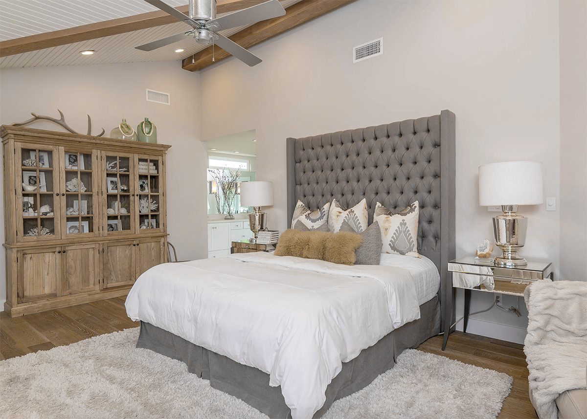 Cozy farmhouse style beige and grey bedroom decor with ...