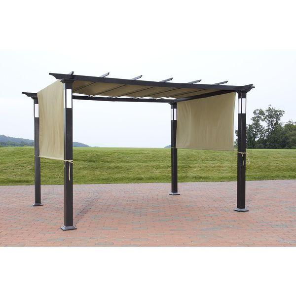 New 8 X 10 Led Lighting Steel Pergola Garden Patio Gazebo Outdoor Shed Canopy Up