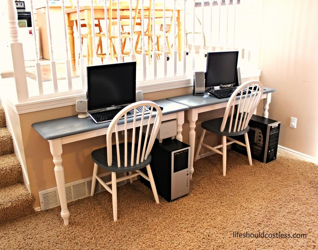 table cut in half and mounted to wall as personal desk stations rh pinterest com dining room table used as desk dining room table used as desk