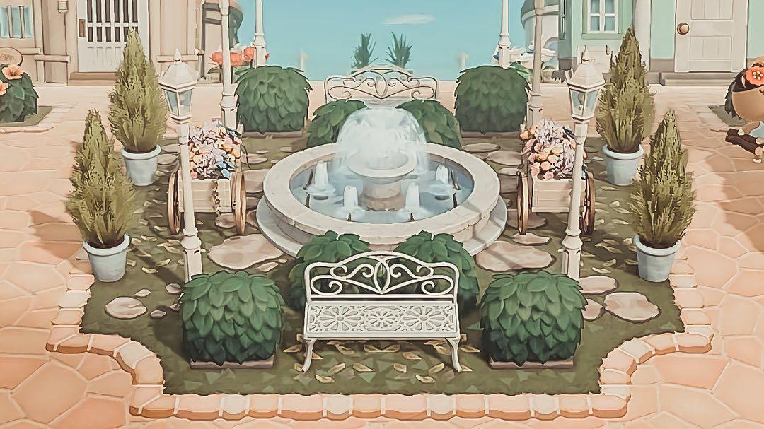 An Animal Crossing elegant city center garden created by ...