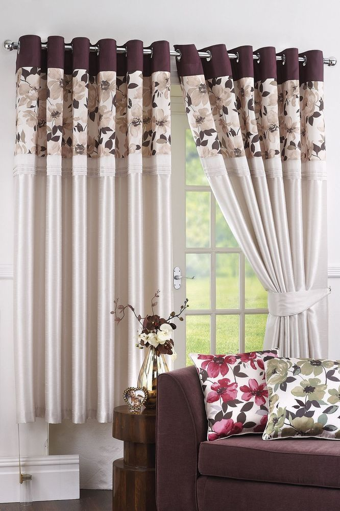 Ring Top Pair Eyelet Ready Made Curtains 46 x 90 Floral Natural Bedroom
