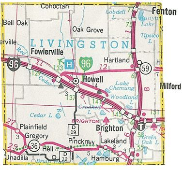 Livingston County Michigan Map - Brighton, Howell, Fowlerville, Pinckney, Gregory, Lakeland, Hell, Plainfield, Hartland, Oak Grove, Hamburg ...