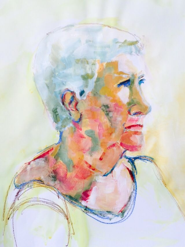 Portrait of woman in acrylic on paper with acrylic pencils by Mary-Jean Dudok de Wit.