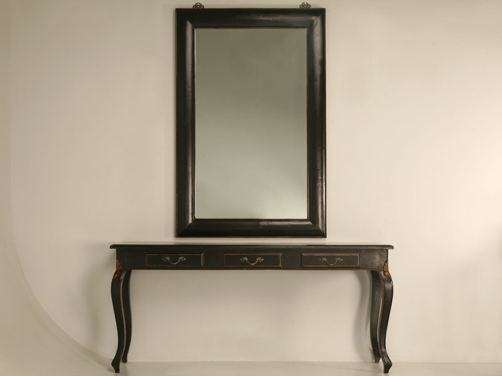 Entrance Tables Furniture productwiki: black lacquered console table and mirror sold