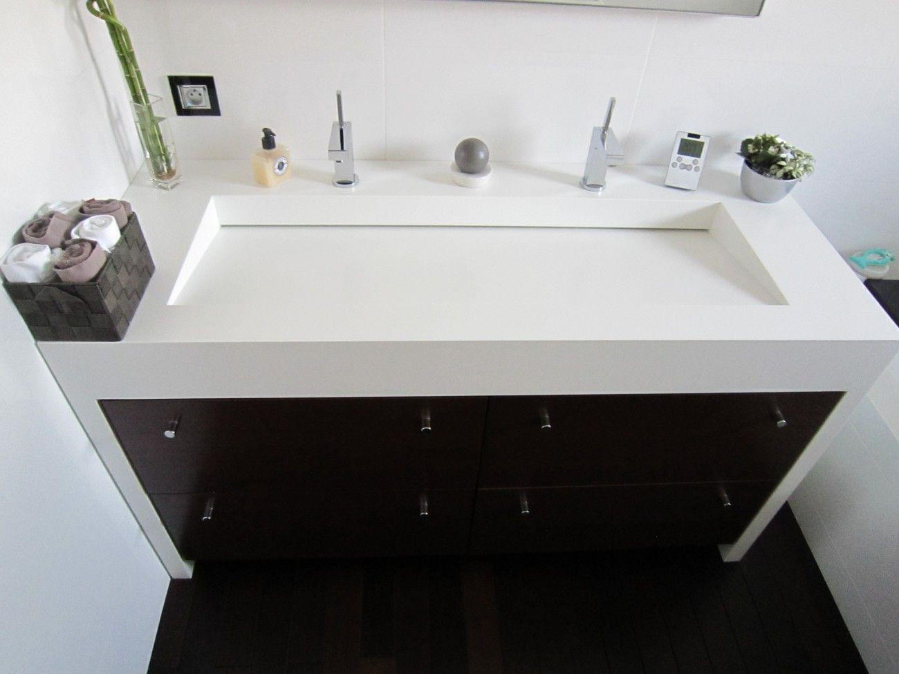 Plan vasque double avec vacuation dissimul e salle de bain pinterest salle de bain salle - Lavabos salle de bain ...