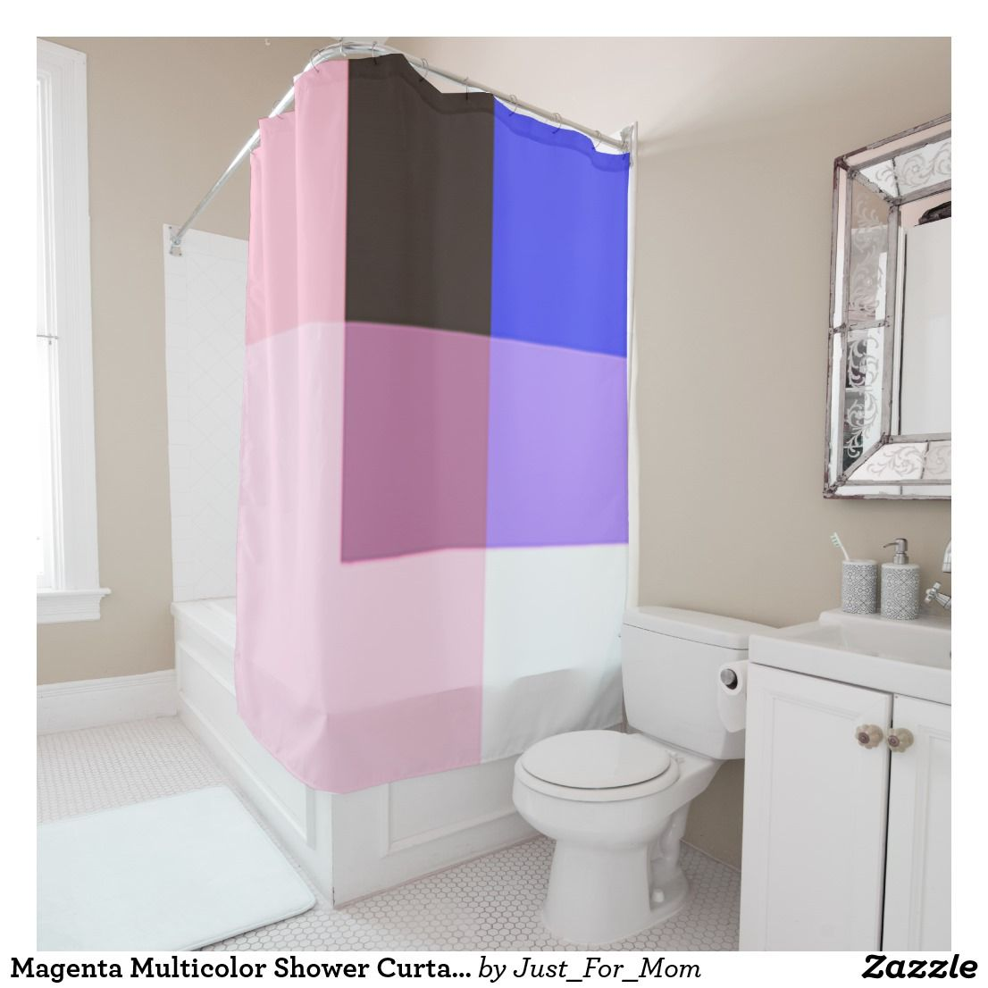 Magenta Multicolor Shower Curtain By Janz