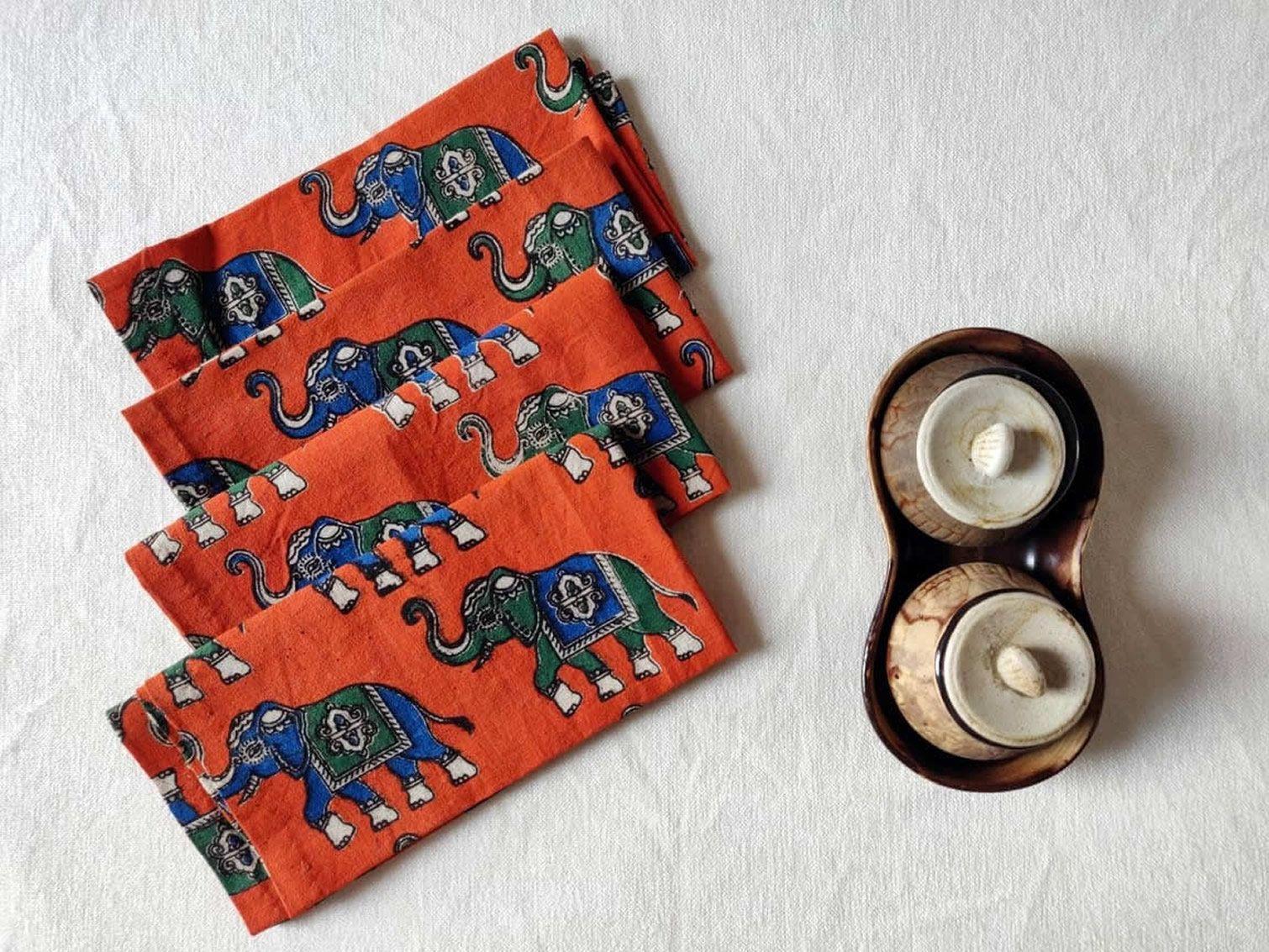 Elephant block print dinner napkin Set of 4 cotton table napkins hostess gifts, southwestern napkins, cloth napkins, Indian style theme #clothnapkins