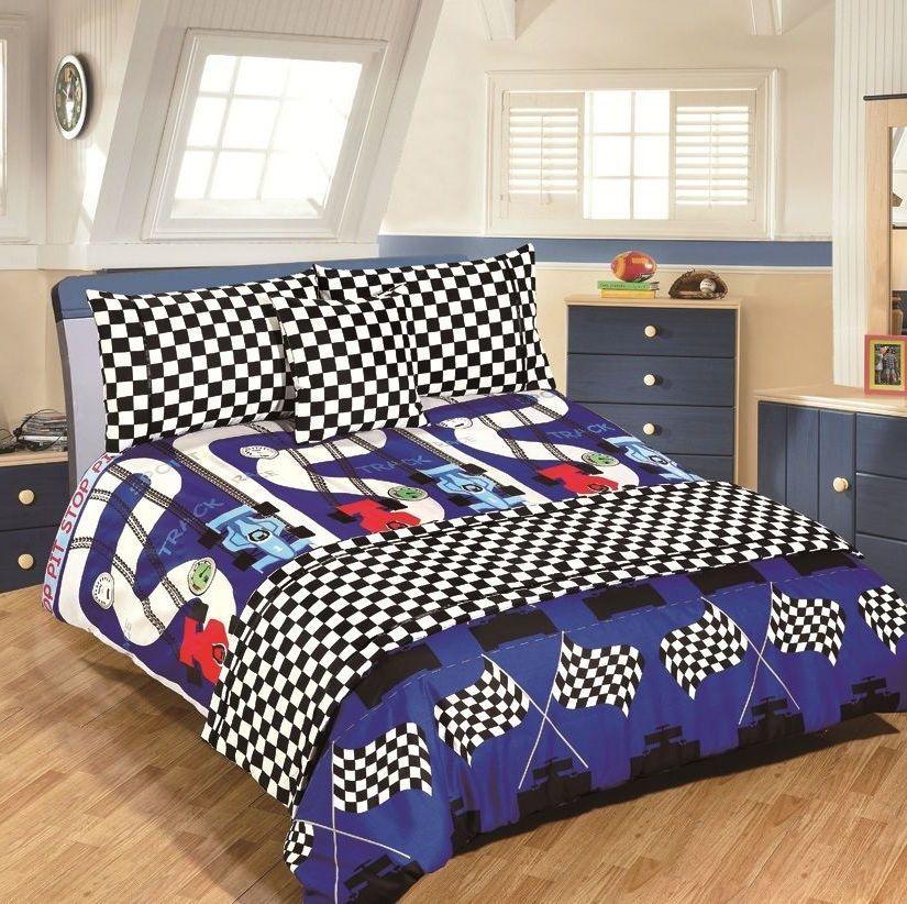Checkered Flag Race Car Duvet Cover Bedding For Boys