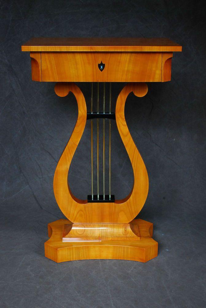 Biedermeier lyra tisch kirschbaum furniert mit schublade for Tisch kirschbaum