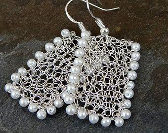 Gold pearl earrings.Handmade wire crochet pearl earrings Dangle ...