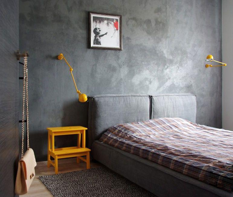 Betonowa Sciana W Sypialni Sypialnia Styl Nowoczesny Aranzacja I Wystroj Wnetrz Loft Style Bedroom Home Bedroom Home