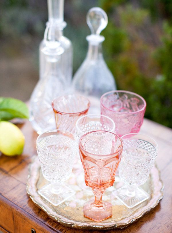 a collection of rose hued vintage glass  Photography by jenhuangphotography.com
