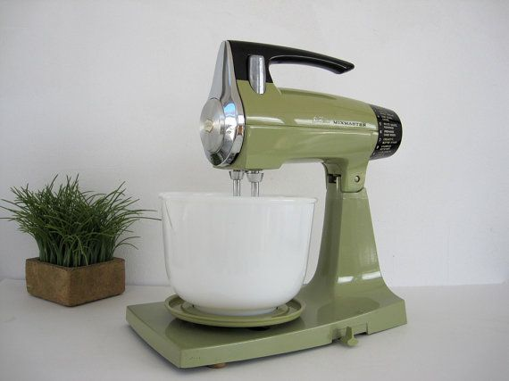 Electric Stand Mixer With Removable Head ~ Vintage avocado electric mixer sunbeam mixmaster stand
