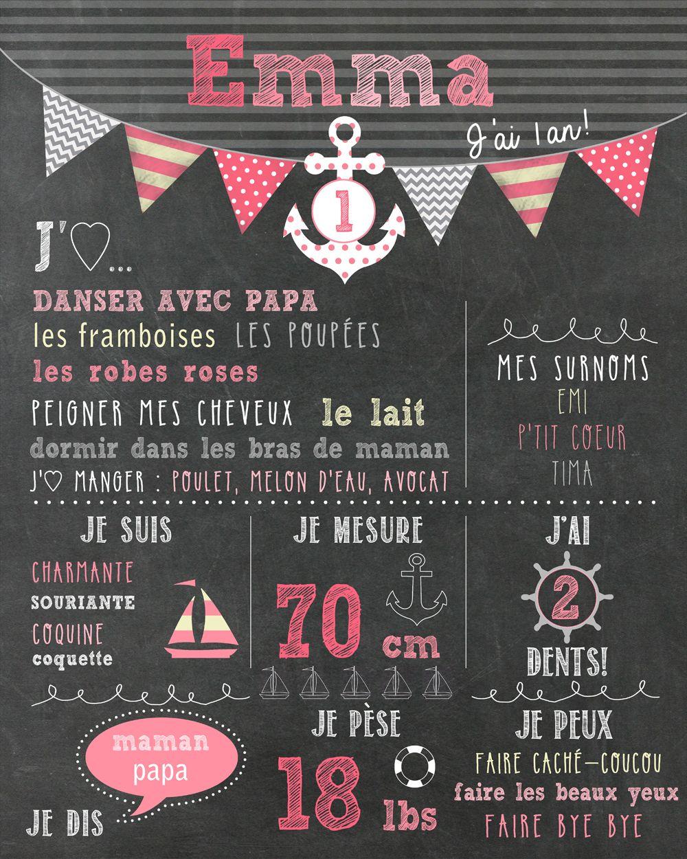 """Affiche personnalisée 1er anniversaire """"Nautique rose"""" - 20$ #chalkboard   bébé   Pinterest ..."""