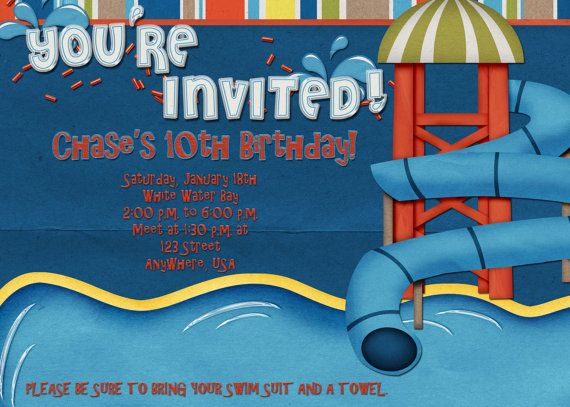 Water Park Birthday Party Invitation by DecidedlyDigital on Etsy – Water Park Party Invitations