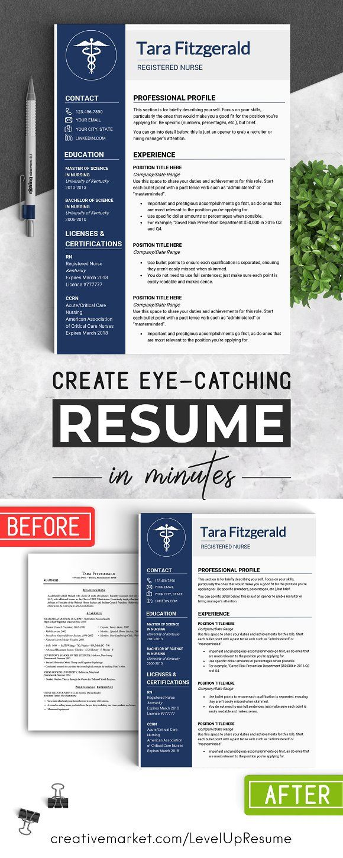 Nursing RESUME Template / MS Word | Pinterest | Busqueda de empleo y ...