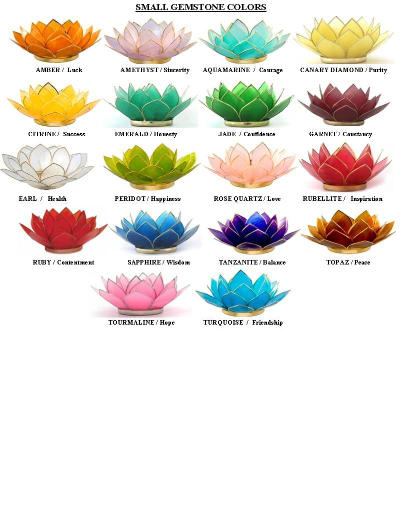 Lotus flower color meanings lotus capiz shell candle for Meaning of flower colors