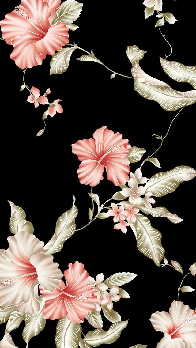 Black Background Pink Flowers Wallpaper