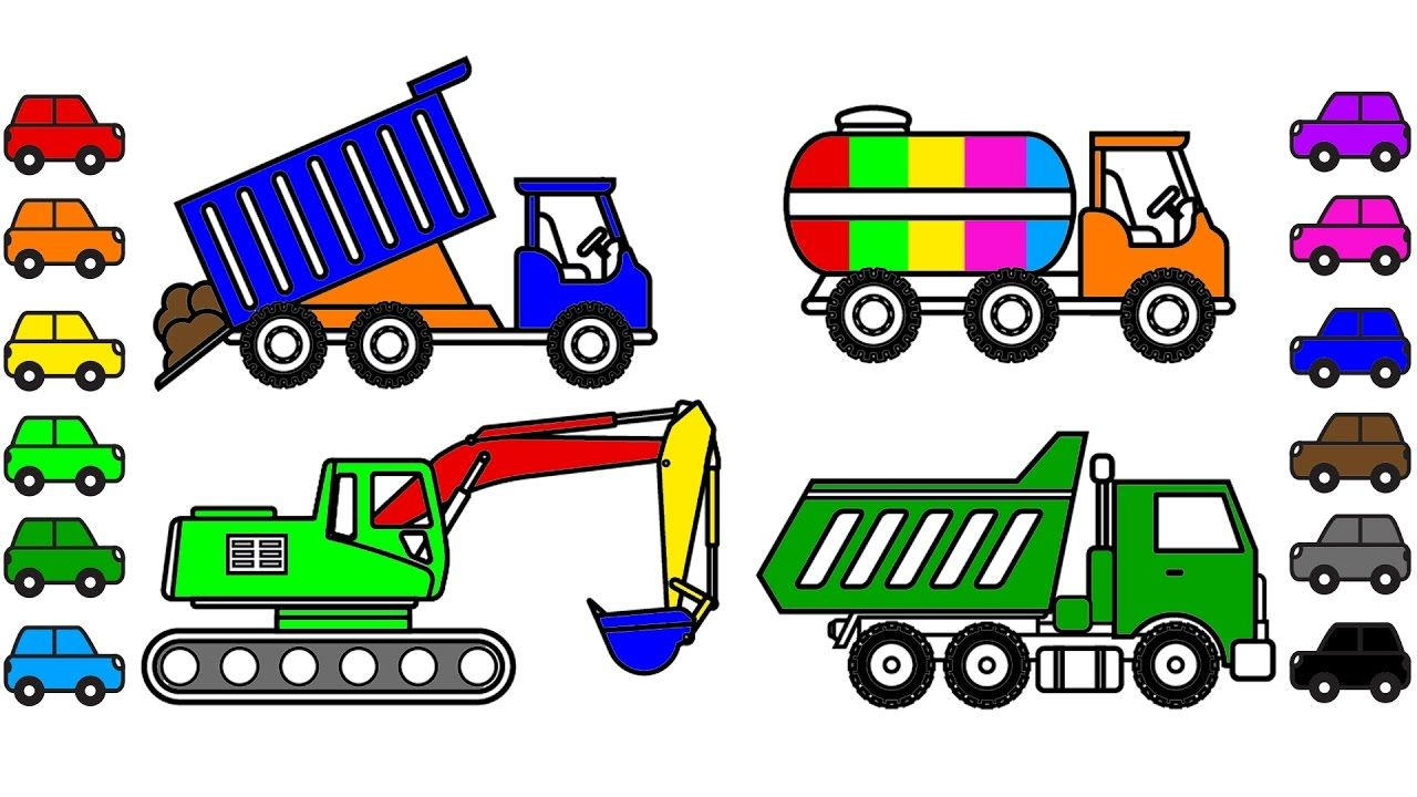 Construction Truck Coloring Pages to Learn Colors, Car Coloring Book ...
