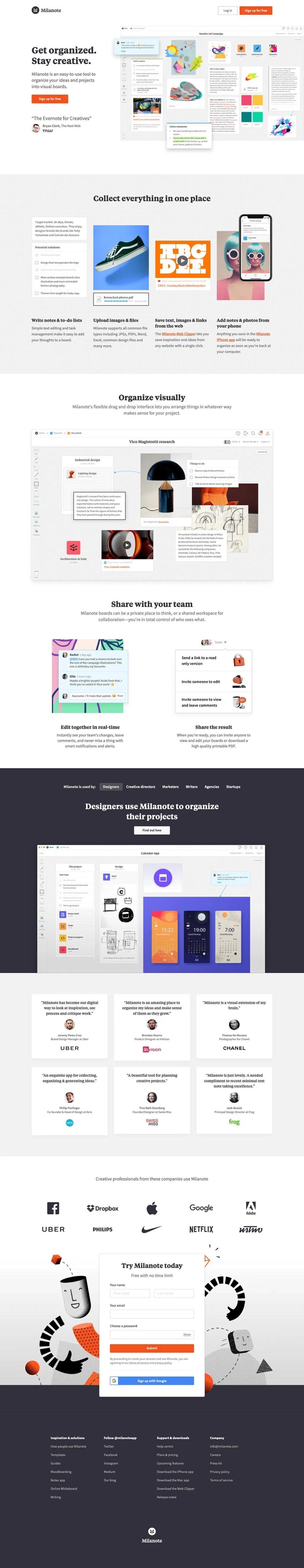 Milanote Com H69 Design Landing Page Design Page Design Landing Page
