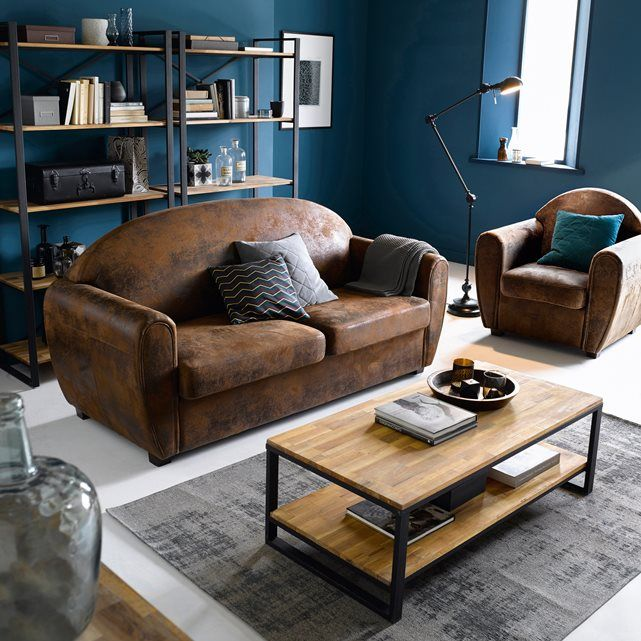 Image Coffee Table In Oak And Steel Hiba La Redoute Interiors Home