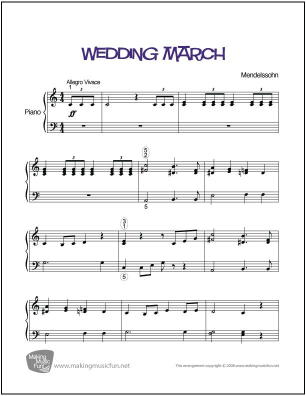 Wedding March Menndelssohn Print And Download Easy Piano Sheet