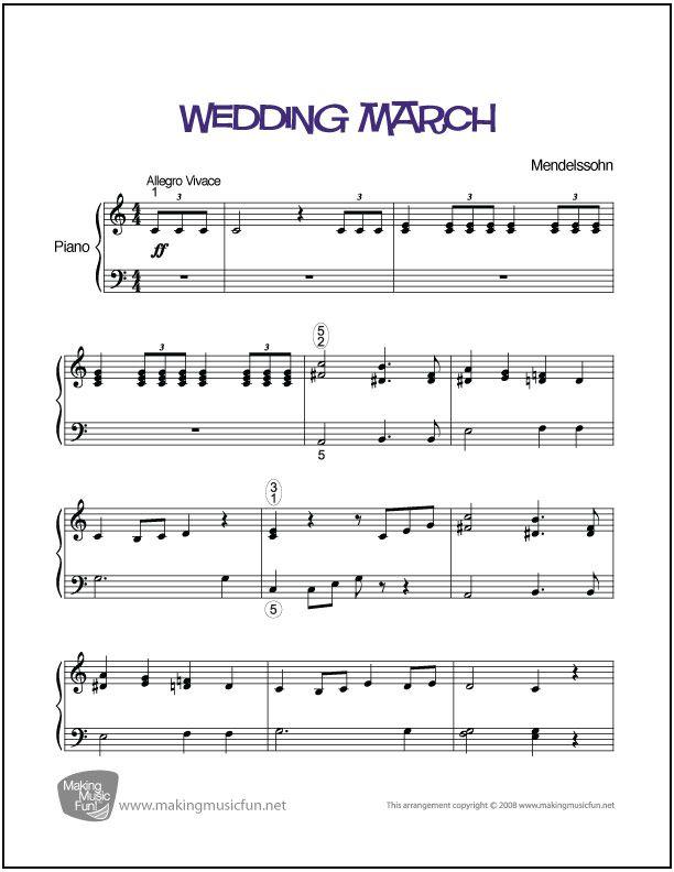 wedding march menndelssohn sheet music for piano digital print http