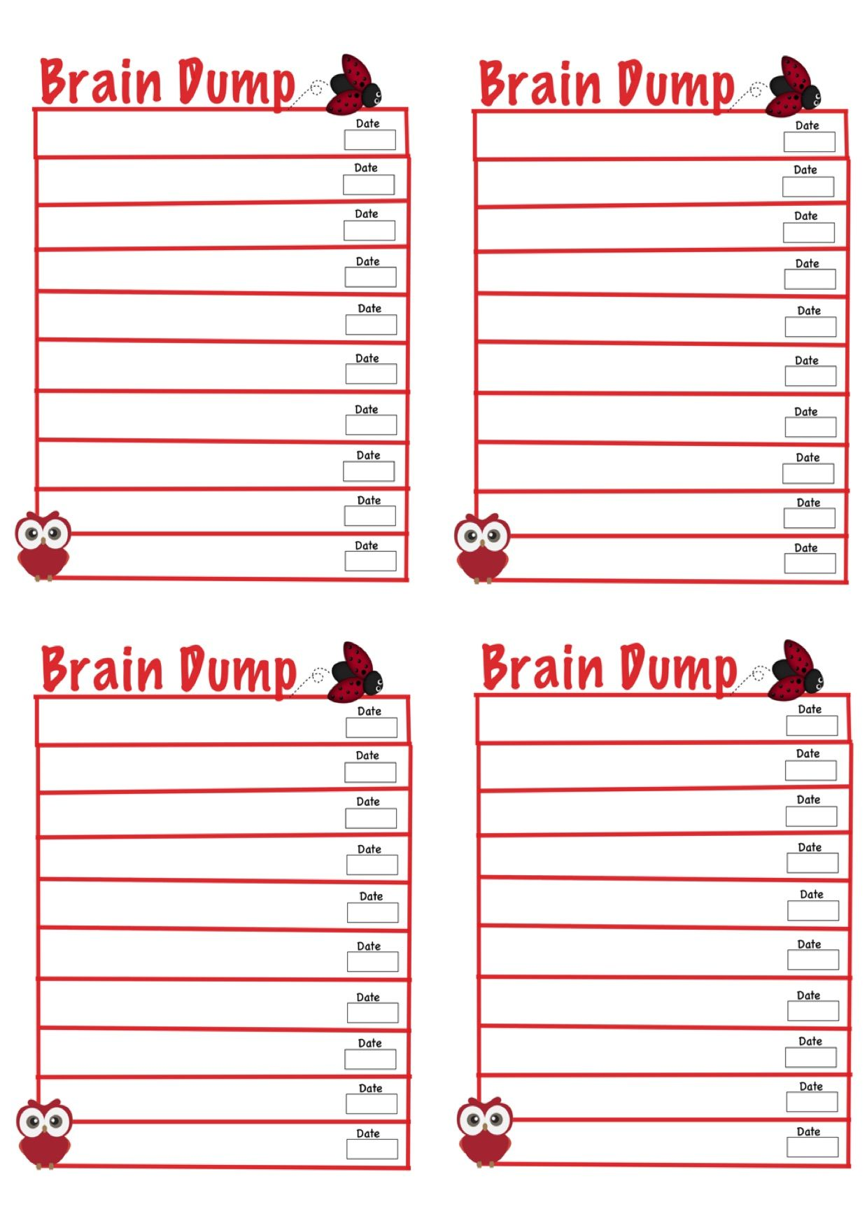 Brain Dump Template Printable