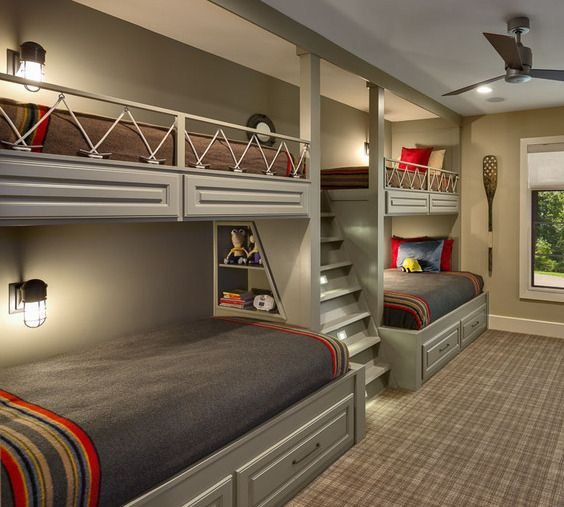 Bedroom Fowler Interiors Bunk Bed Rooms Bunk Beds With Stairs Loft Spaces