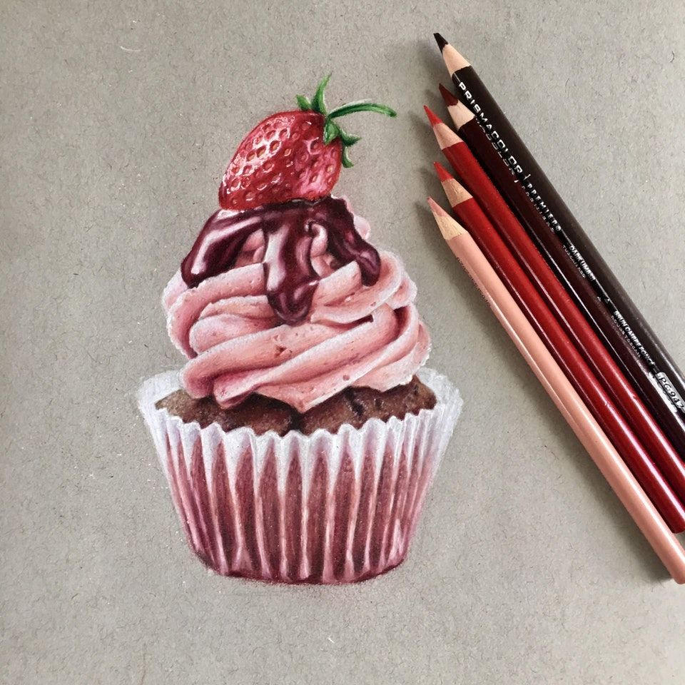 Cupcake with prismacolor pencils : drawing Colored pencil ...
