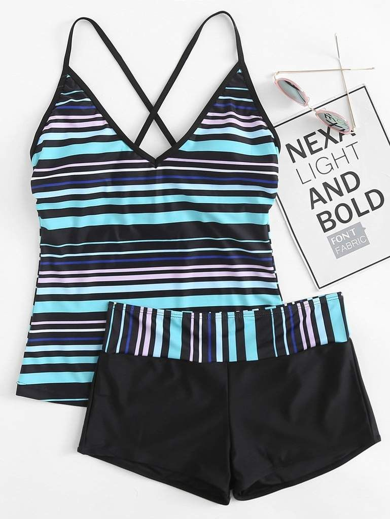 d125a2a8487 Striped Criss Cross Top With Shorts Tankini Set   Pusshe   Clothes ...