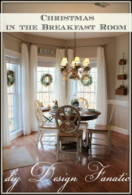 Breakfast Room decorated for Christmas   Dining room ... on Farmhouse:-Cra1Rtrksu= Dining Room Curtains  id=97990