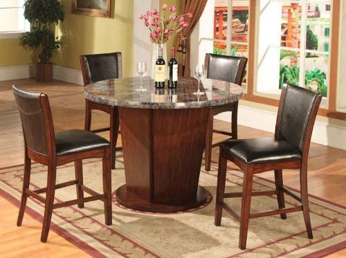 5PC Dark Cappoccino Finish Artificial Marble Counter Height Dining Set    The Table Features A Contemporary