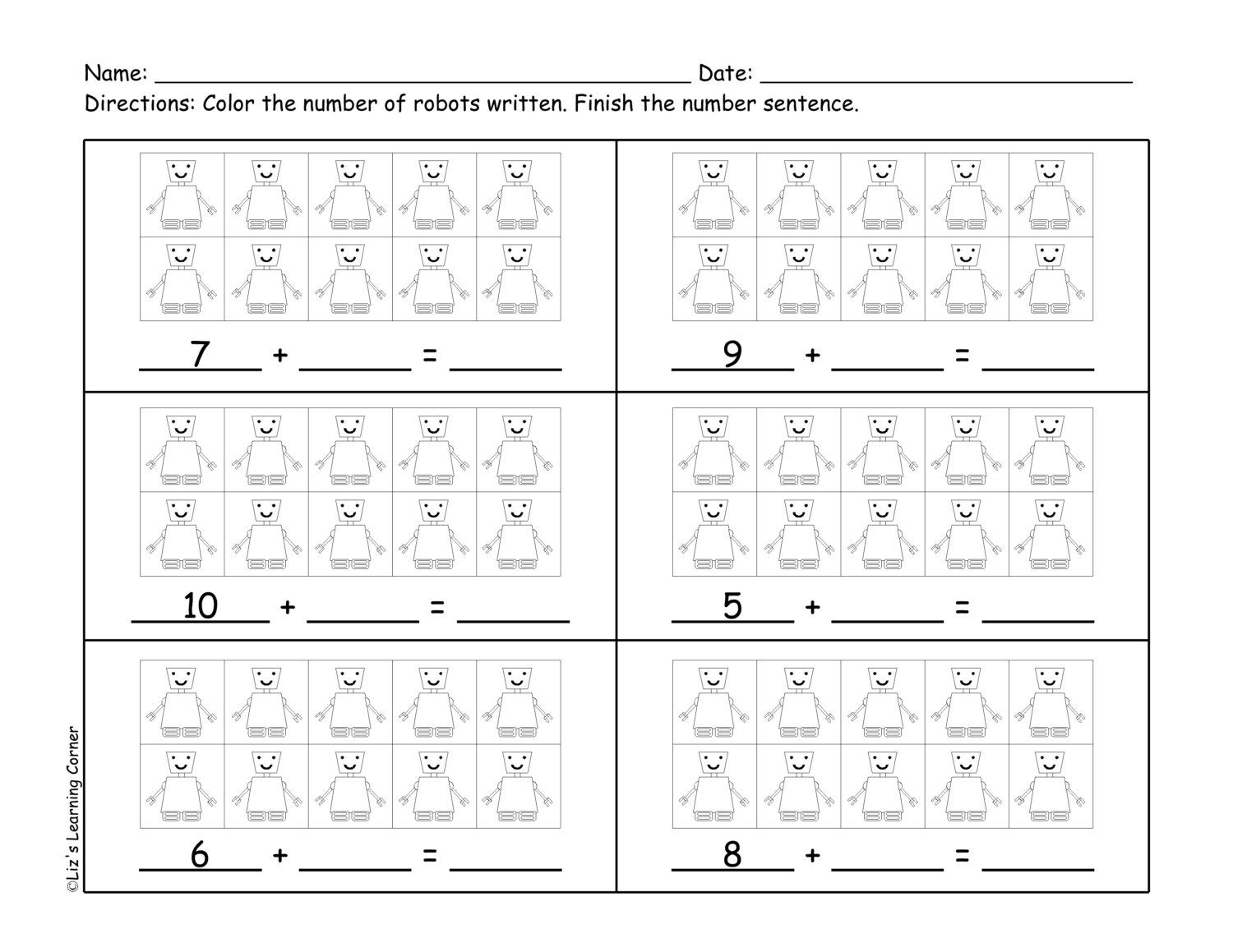 10 Frame Addition & Subtraction Worksheets via Etsy | For my Saxon ...
