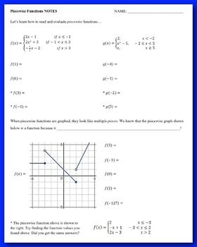 Piecewise Functions Guided Notes And Homework With Images