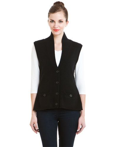 Magaschoni Black Cashmere Sweater Vest    ~